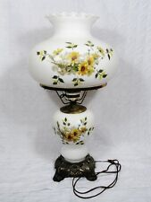 Hurricane lamp ebay gwtw hurricane table lamp 2 way electric milk glass shade handpainted floral 25 aloadofball Gallery