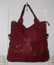 Fossil Modern Cargo Convertible Tote Satchel Burgundy Brick Red Leather ZB4524