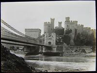 Glass Magic Lantern Slide CONWAY CASTLE AND BRIDGE FROM RIVER C1890 PHOTO WALES