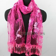 Fashion Women Sequin Lace Tassel Floral Long Scarf Shawl Wrap Ladies Scarves New