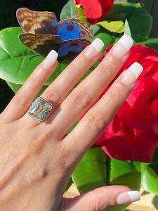 GLAMOROUS 10CT FANCY CANARY YELLOW DIAMOND RING PRINCESS CUT HALO ENGAGEMENT 925
