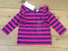 Ralph Lauren Baby 6m Pink/blue Frill Stripe Top - 6 Months