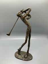 BRONZE METAL ART GOLF SCULPTURE SWING/PUTTER GOLFER STATUE FIGURINES VTG