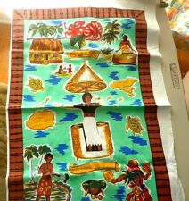 CARTOON MAP OF FIJI ON TEXTILE BULA VANUA LEVU SIGATOKA LAUTOKA VITI LEVU
