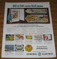 1951 Vintage Ad General Electric Refrigerators GE Convenience
