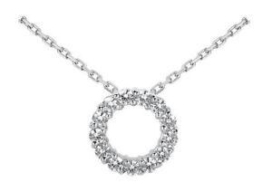 1.20 Carats Round Diamond Women's Circle of Love Pendant Necklace 14k White Gold