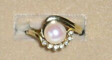 SOLID     14K Gold     AKOYA     Pearl    DIAMOND    Ring