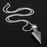 Fashion Men's Silver/Gold Plated Steel ArrowHead Arrow Pendant Chain Necklace