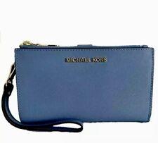 ★ MICHAEL KORS * Jet Set DoubleZip Leather Large Wallet Wristlet - French Blue ★