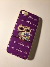 Coque Iphone 5 5s Silicone Apple Telephone Phone Cover Violette Hibou Chouette
