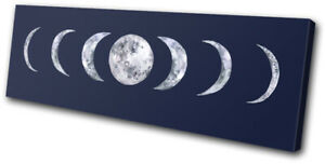 Moon Phase Astronomy Modern Space SINGLE CANVAS WALL ART Picture Print