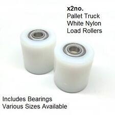 More details for pallet truck load roller wheel inc. bearings - white nylon various sizes - x2no.