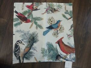 HARD TO FIND POTTERY BARN WINTER FAUNA BIRDS HOLIDAY WINTER PILLOW COVER ~NWT