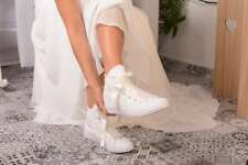 Ivory Wedding Converse Shoe For bride Bridal Shower Gift Lace Converse High Top