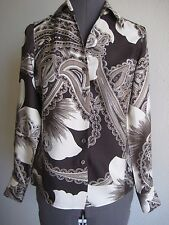 Ann Taylor 100% silk paisley long sleeves career blouse top 4P