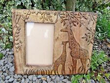 Hand Carved Made Mango Wood Wooden Giraffe Calf Carving Photo Display Frame