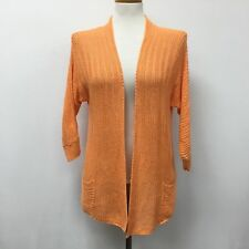 Chicos Cardigan Sweater Size 0 Small 4 Womens Orange Crochet Open Front