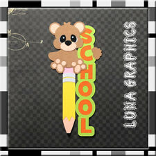 VERTICAL BEAR  SCHOOL EMBELLISHMENT card toppers scrapbooking