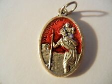 "Saint Christopher Red Enamel 1"" tall oval medal New! Made in Italy"