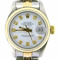Rolex Datejust Lady 2Tone 18K Yellow Gold & Steel Watch White Diamond Dial 69173