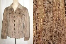 Free s/h CHICOS size 0 Small S Snakeskin Sheen Leather Look JACKET bust 36