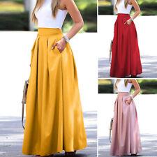 ZANZEA Womens High Waist A-Line Pleated Skirt Plain Basic Long Maxi Dress S-5XL