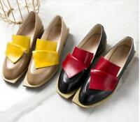 Womens Fashion Patent Leather Court Shoes Slip On Mix Color Loafers Low Heels