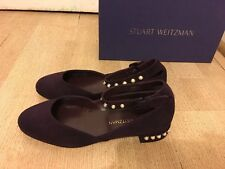 NEW Stuart Weitzman Suede Flats With Pearl - Size 37.5 - RRP $840