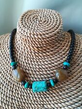 Genuine turquoise & brown wooden bead necklace choker ethnic Bohemian 18 inch