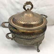 New listing Vintage Metal Leonard Silverplate Serving Dish Bowl W/ Lid & Footed Stand-12 In.