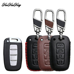 Leather Car Key Cover Case Holder Fob For Hyundai Tucso Kia Remote Key 4 Buttons