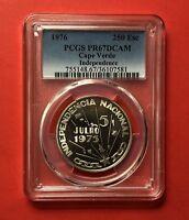 CAPE VERDE-1976-UNC250 ESCUDOS( INDEPENDENCE ),GRADED BY PCGS PR67DCAM ....RARE.