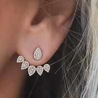 Women Jewellery Crystal Front Back Double Sided Stud Earring Fashion Ear Cuff Pi