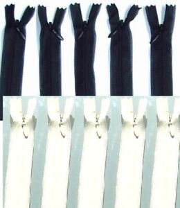 """5pc+5pc (10zips) Invisible Concealed Zips (4"""" to 22""""/10cm to 55cm) AUTOLOCK BULK"""