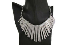 Women Silver Metal Long Sticks Fashion Necklace Dressy Jewelry Wide Bib Pendant