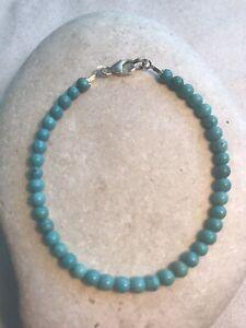 Turquoise 4 mm Beads - Women Bracelet - 925 Sterling Silver - Free UK P&P