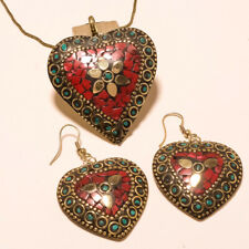Plated Tibetan Pendant Earring Chain Set Red Coral & Turquoise Gemstone Gold