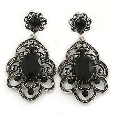Victorian Style Filigree Black Glass, Crystal Drop Earrings In Antique Silver To