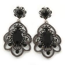 Stile Vittoriano filigrana, in Vetro Nero Orecchini a goccia cristallo in argento anticato per