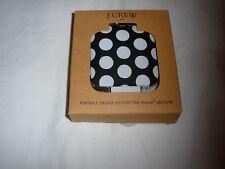 NEW J. Crew Portable Backup Battery iPhone 4 4s 3gs $36.50 Black White Polka Dot