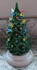 "SMALL VINTAGE GREEN CERAMIC CHRISTMAS TREE - 6"" WITH BULBS & BASE"