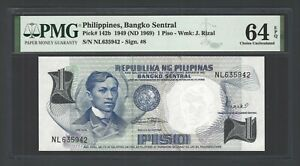 Philippines  One Piso 1949 ND(1969) P142 Uncirculated Grade 64
