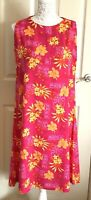 1990s Retro Cerise & Orange Floral Print Sleeveless Shift Dress Size 16 Bold