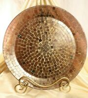 """Z Gallerie Glass Plate Decorator Mosaic Geneva Purple 13"""" Charger with stand"""