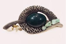 Fashion Jewelry - Dark Jade Green Cabochon Bead Silver Pewter Leaf Brooch Pin
