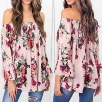 Women Floral Off Shoulder Tops Long Sleeve Shirt Casual Blouse Loose T-shirt NEW