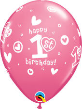 10 Blue or Pink Happy 1st First Birthday Helium / Air Balloons Party Decorations
