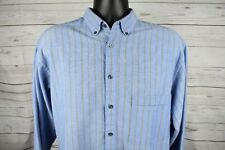 Levi's Blue Long Sleeve Button Down Striped Shirt Cotton/Poly Mens Size Large