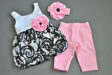 Cachcach Black and Pink Rosette Bubble Top Legging and Headband Set 18 Mo