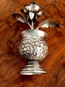 Egyptian 900 Silver Rose and Vase with Floral Decoration: No Monograms